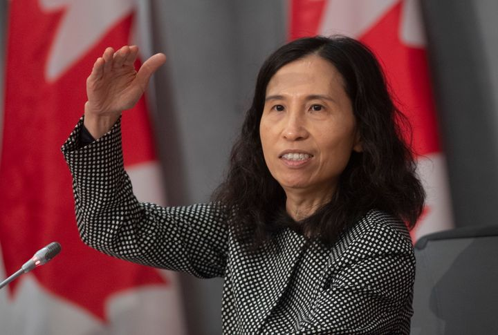 Chief Public Health Officer Theresa Tam gestures as she talks about the pandemic curve during a news conference in Ottawa on Friday.