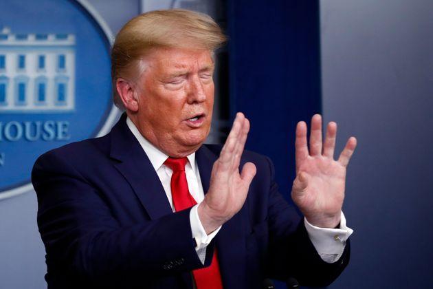 Donald Trump lors de sa conférence de presse du 3 avril sur le