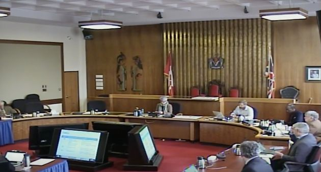 Screen grab of Victoria City Council proceedings on April 2,