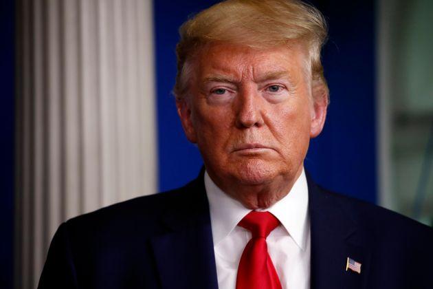 백악관 코로나19 정례 브리핑에 참석한 도널드 트럼프 미국 대통령의 모습. 2020년