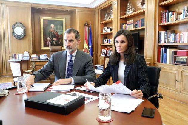 El rey Felipe VI y la reina Letizia durante una