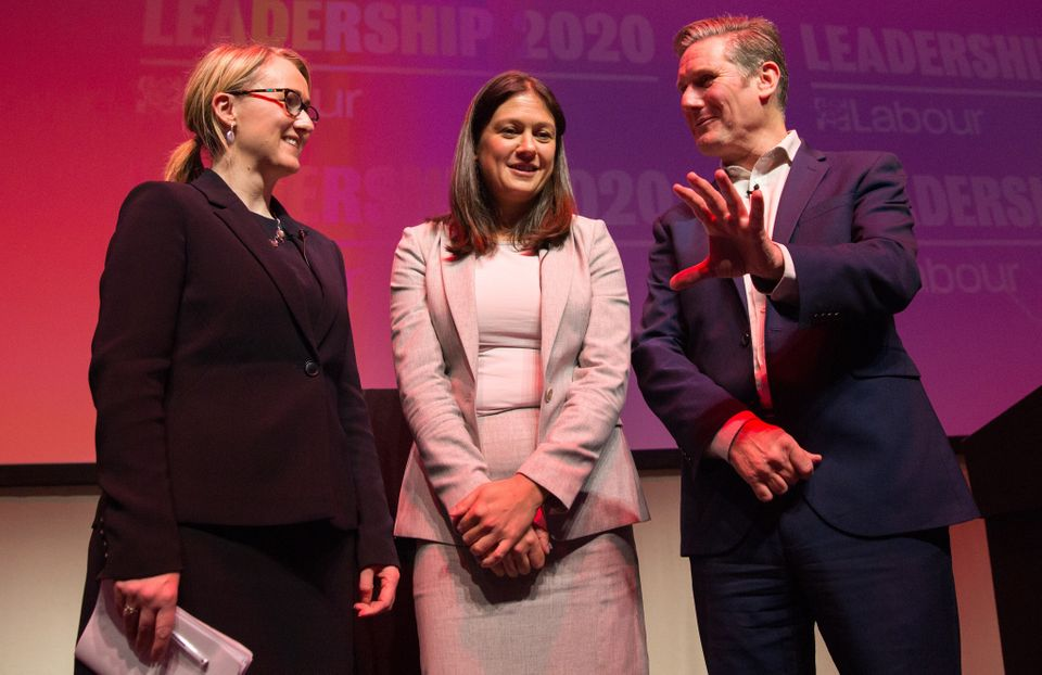 Keir Starmer alongside his two rivals for the leadership, Rebecca Long-Bailey and Lisa