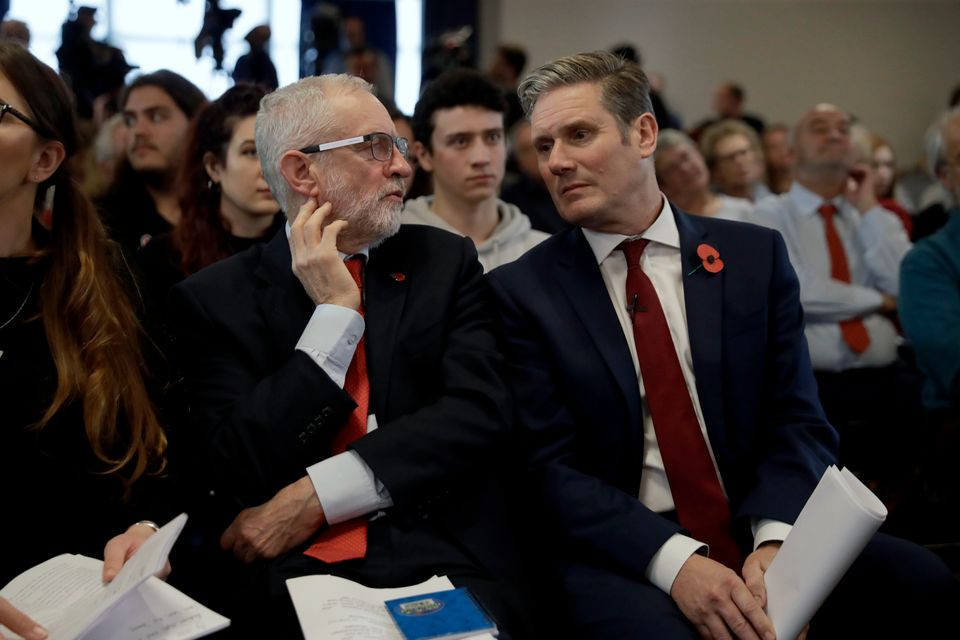 Jeremy Corbyn chats to Keir Starmer during the 2019 general election