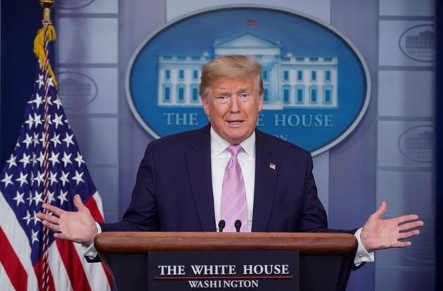 President Donald Trump addresses the daily coronavirus task force at the White House on Apr. 4,