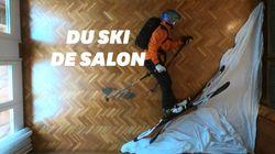 En plein confinement, ce Barcelonais fait du ski freeride au milieu de son