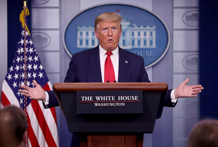 WASHINGTON, DC - APRIL 03: U.S. President Donald Trump answers questions in the press briefing room with members of the White