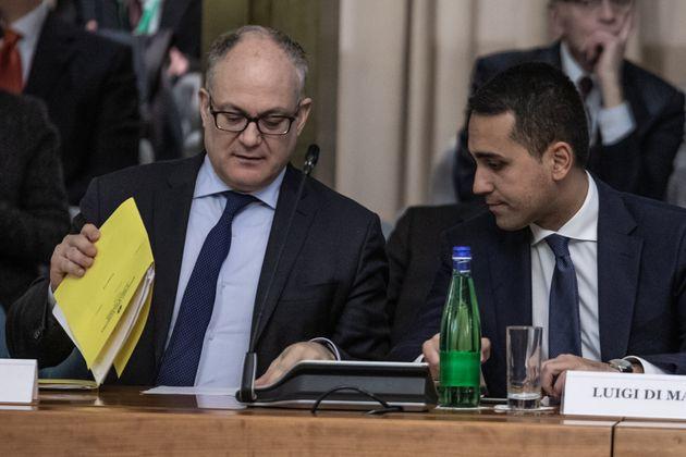 ROME, ITALY - MARCH 03, 2020: Foreign Minister, Luigi di Maio and Economy Minister, Roberto Gualtieri...