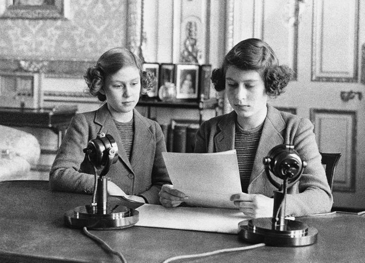 14-year-old Princess Elizabeth, right, with her sister Princess Margaret, during a radio broadcast addressing the children of England during the Second World War, on Oct. 13, 1940.