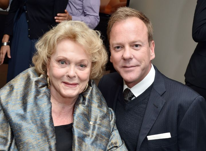 """Actress Shirley Douglas and her son, actor Kiefer Sutherland, attend """"The Reluctant Fundamentalist"""" premiere during the 2012 Toronto International Film Festival at Roy Thomson Hall on Sept. 8, 2012 in Toronto."""