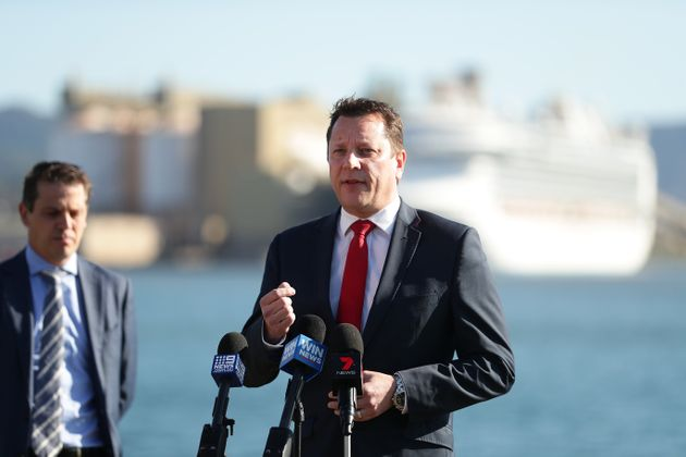 Wollongong MP Paul Scully speaks to media as the Ruby Princess cruise ship sits docked on April 06, 2020...