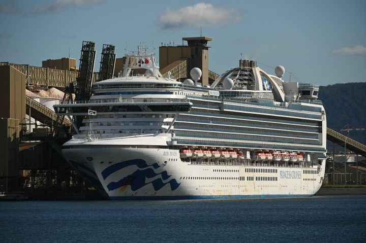 Cruise liner Ruby Princess sits in the harbour in Port Kembla, 80km south of Sydney after coming in to refuel and restock on April 6, 2020.