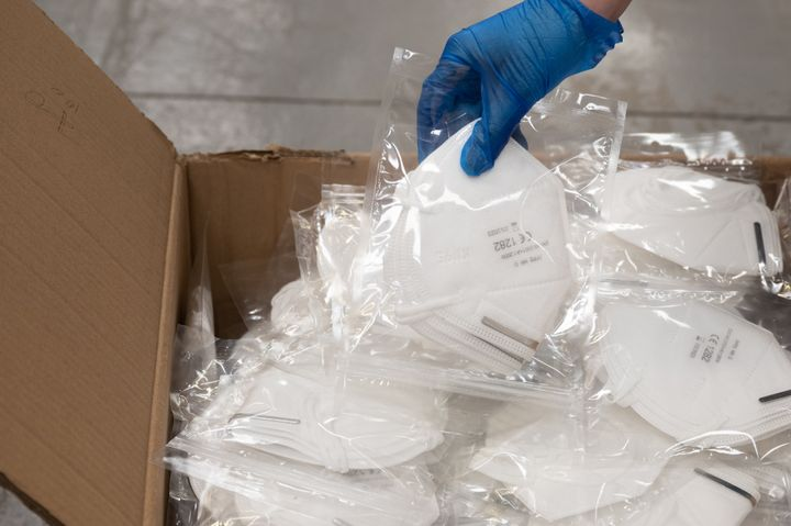 A box of N95 surgical face masks in Cardiff, U.K. on on April 03, 2020.