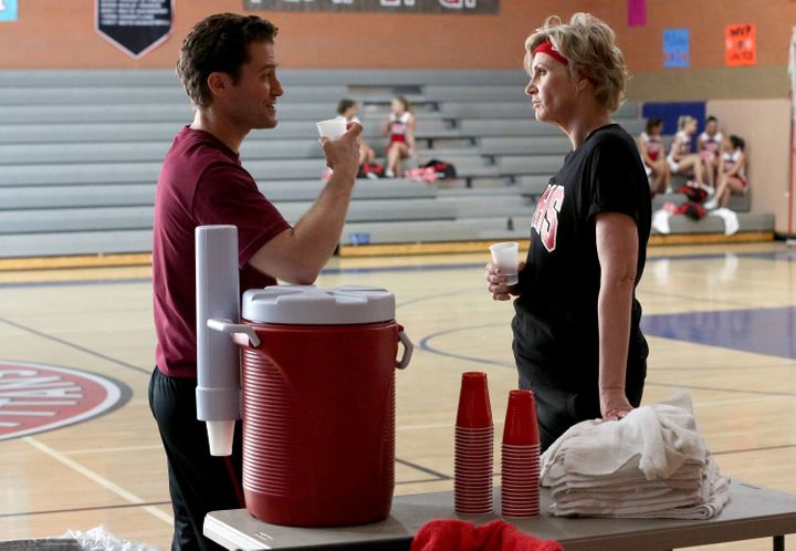 Will (Matthew Morrison) and Sue (Jane Lynch) chat in the special two-hour series finale on March 20, 2015.