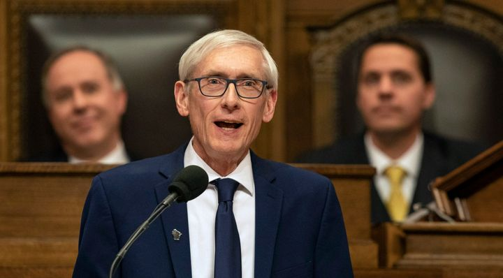 Wisconsin Gov. Tony Evers addresses a joint session of the Legislature in January 2019.