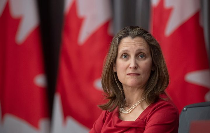 Deputy Prime Minister and Minister of Intergovernmental Affairs Chrystia Freeland in Ottawa, on April 6, 2020.