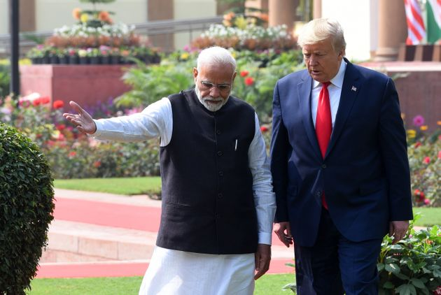 Prime Minister Narendra Modi and US President Donald Trump at Hyderabad House, on February 25, 2020 in...