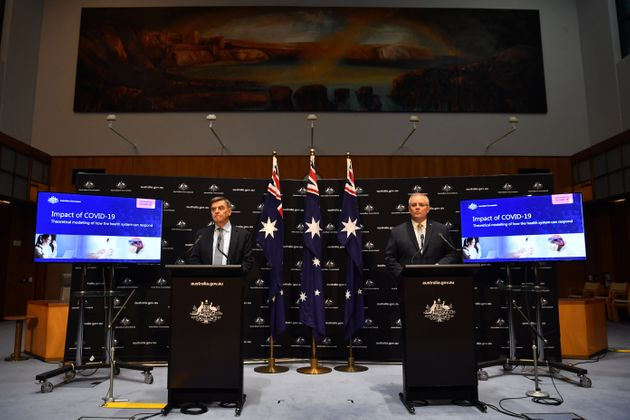 Prime Minister Scott Morrison (right) and Chief Medical Officer Brendan Murphy during a press conference...