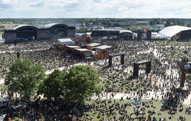 Vue aérienne du festival de musique