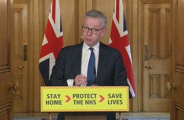 Screen grab of Minister for the Cabinet Office Michael Gove during a media briefing in Downing Street,...