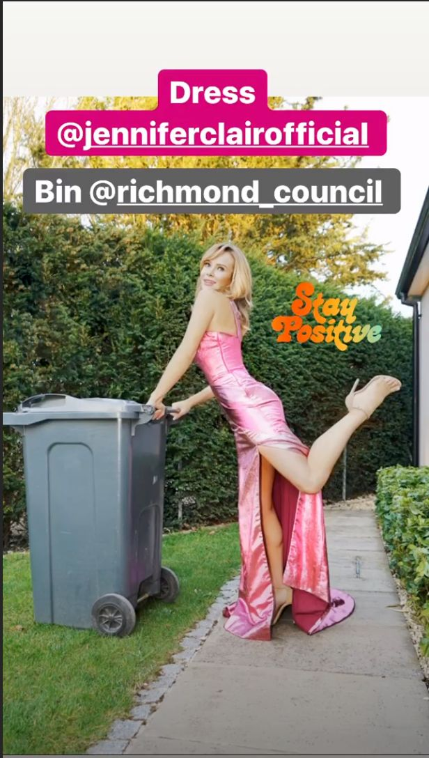 Amanda Holden got dressed up to take her bins out on Monday