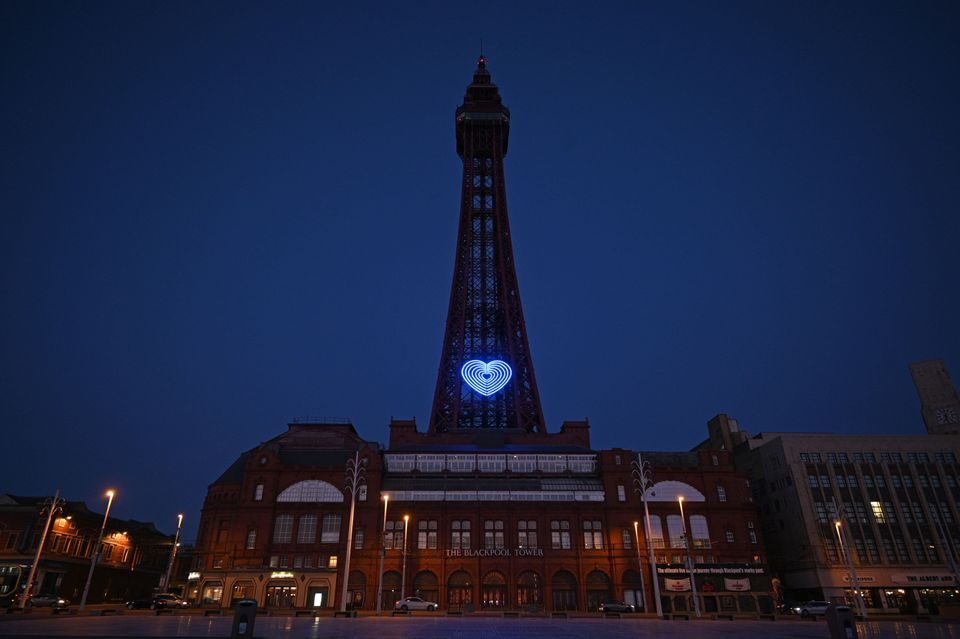 Blackpool tower lit up in support of NHS workers last month.