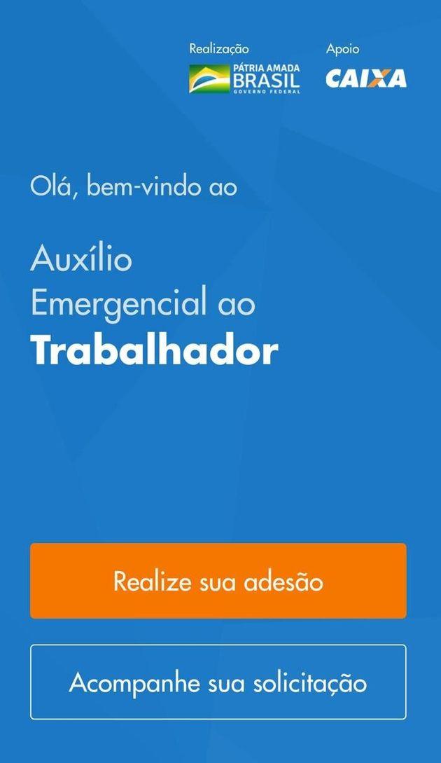 Página inicial do aplicativo para receber o auxílio