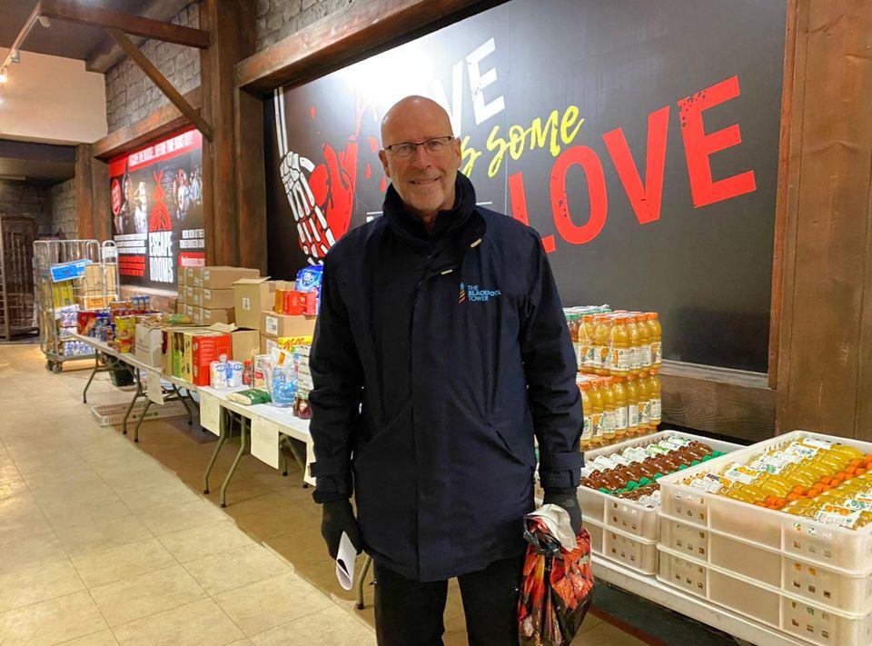 A Merlin volunteer at the Blackpool Tower food donation hub