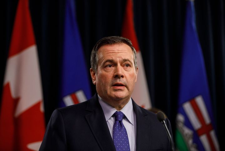 Alberta Premier Jason Kenney updates media on measures taken to help with COVID-19, in Edmonton on March 20, 2020.