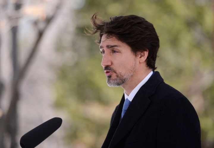Prime Minister Justin Trudeau addresses Canadians on the COVID-19 pandemic from Rideau Cottage in Ottawa on April 7, 2020.