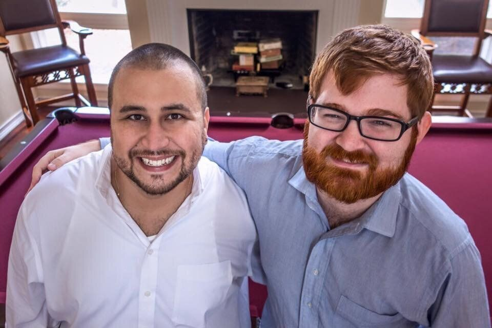 """Far-right politics brought George Zimmerman and Chuck Johnson together, as illustrated by this social media post of the two <a href=""""http://littlegreenfootballs.com/article/45244_Grotesque_Photo_of_the_Day-_Chuck_C._Johnson_Hanging_With_George_Zimmerman"""" target=""""_blank"""" role=""""link"""" data-ylk=""""subsec:paragraph;itc:0;cpos:__RAPID_INDEX__;pos:__RAPID_SUBINDEX__;elm:context_link"""">discovered by Little Green Footballs</a>, a blog that has been tracking Johnson for years."""