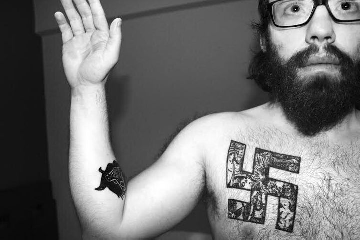 "Andrew ""weev"" Auernheimer publicly declared himself a neo-Nazi in 2014 in a post on The Daily Stormer, which included this picture."