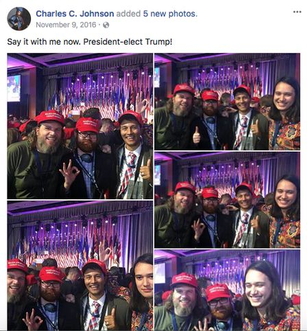Far-right extremists Pax Dickinson and Chuck Johnson celebrate Donald Trump's election in 2016 with Hoan Ton-That.