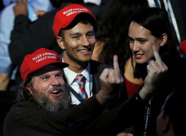 Far-right extremist Pax Dickinson celebrates Donald Trump's election in 2016 with Hoan Ton-That in New York City.