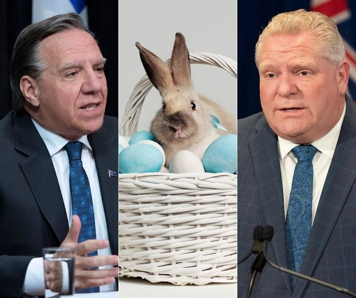 A composite image showing Quebec premier Francois Legault, the Easter Bunny and Ontario premier Doug Ford.