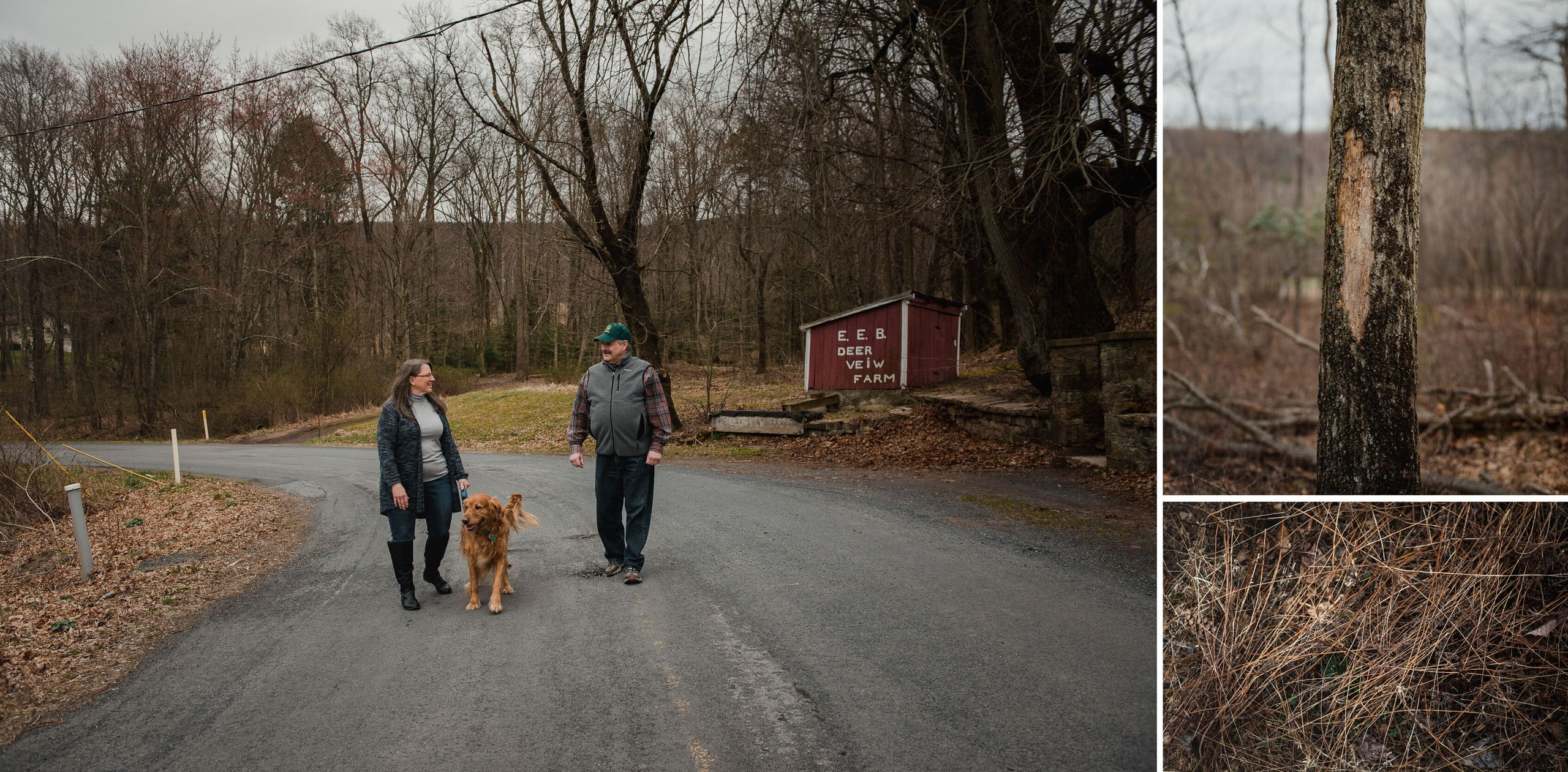 <strong>Left:</strong> Elaine Maneval, 59, walks with her dog Xander and her brother Wayne Brensinger on a road between their