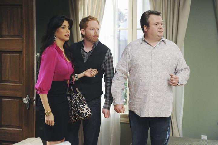 "Sofia Vergara, Jesse Tyler Ferguson and Eric Stonestreet in a Season 1 episode of ""Modern Family."""