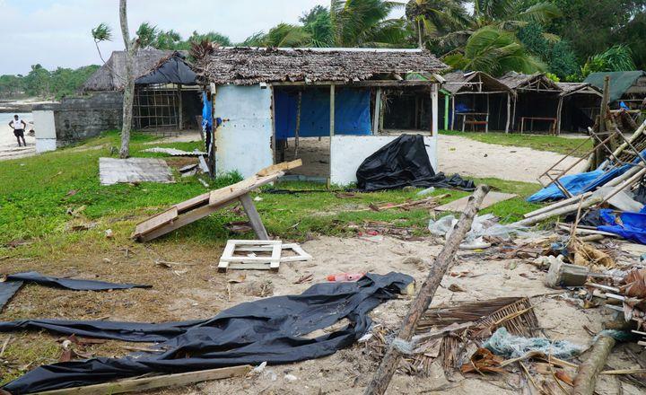 Buildings were badly damaged as Cyclone Harold swept past Vanuatu's capital of Port Vila on April 7.