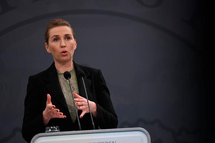 Denmark's Prime Minister Mette Frederiksen addresses a press conference on the novel coronavirus.