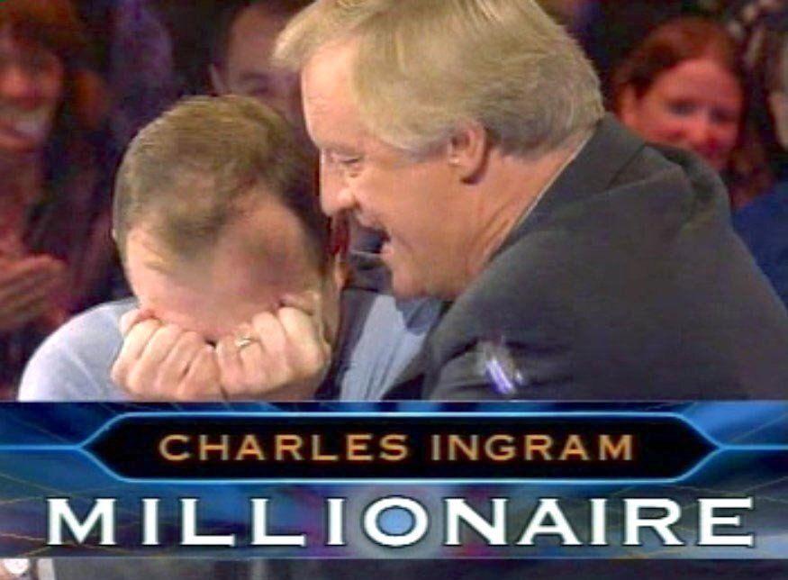 Chris Tarrant celebrates Ingram's £1m win
