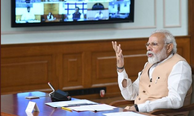 Prime Minister Narendra Modi during the all-party video