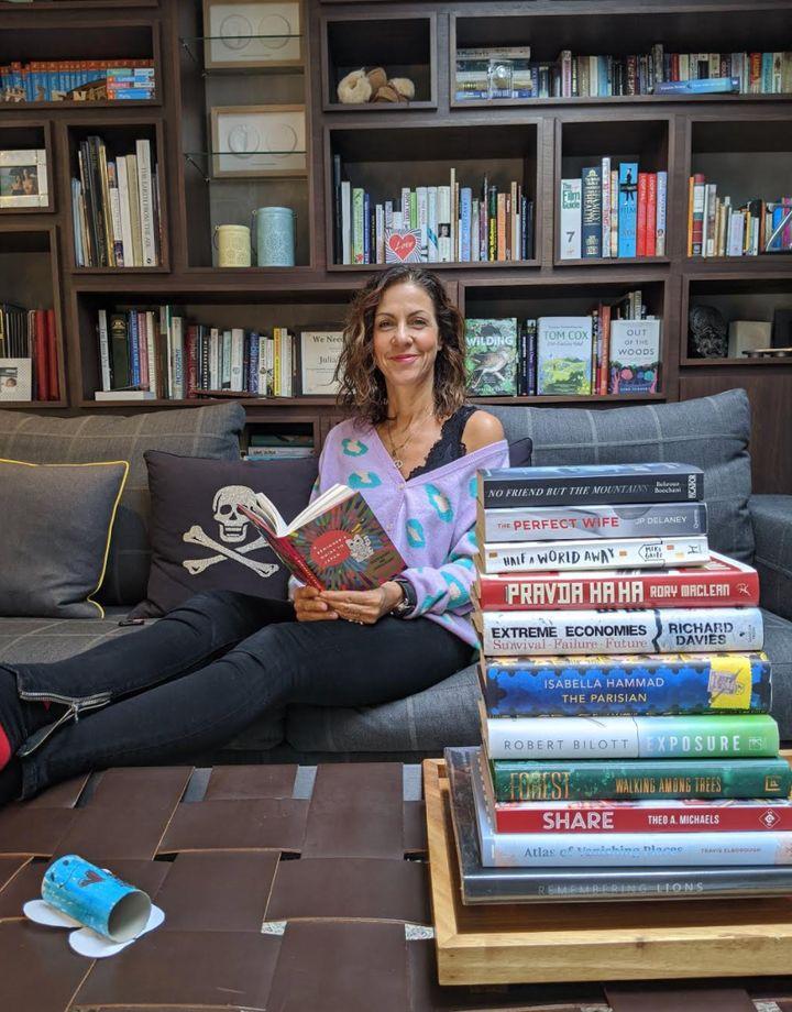 Julia Bradbury with her book selection.