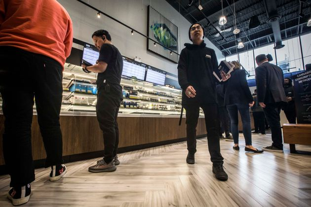 Opening day at authorized cannabis retailer Nova Cannabis on Queen Street West in