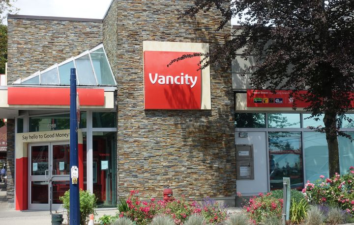 In this undated file photo, a Vancity credit union branch is seen in Vancouver, B.C.
