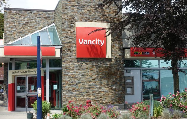 In this undated file photo, a Vancity credit union branch is seen in Vancouver,