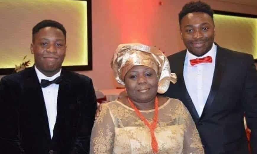 Care worker Carol Jamabo with her sons Tonye Selema (left) and Abiye Selema