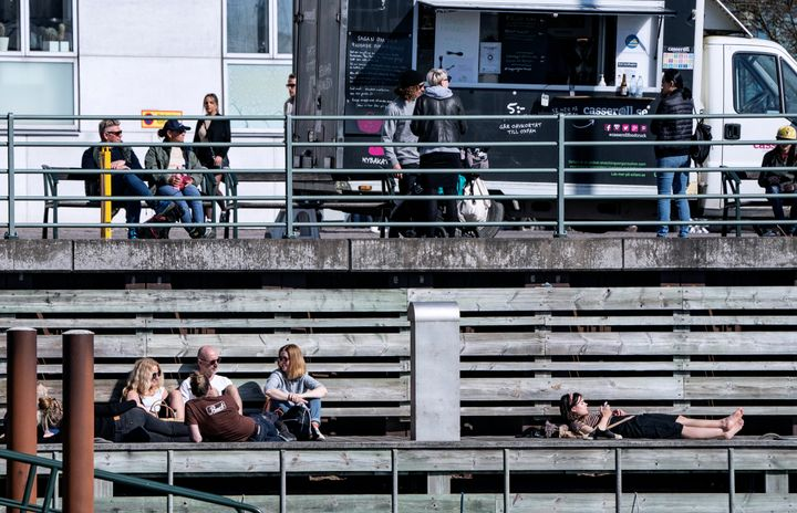 People took to the outdoors with the onset of pleasant weather in Malmö, Sweden, on Sunday, April 5.