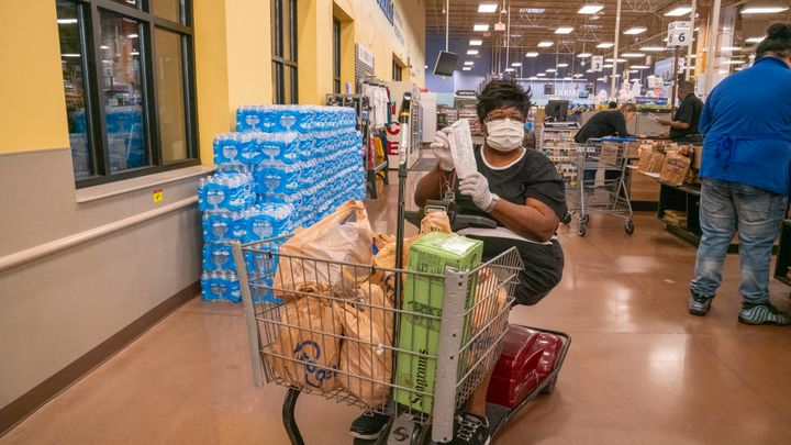 Elderly shoppers at Kroger who had their groceries paid for by Tyler Perry.