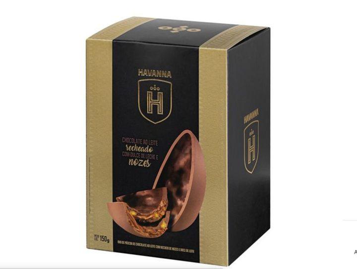 Ovo Havanna de Chocolate ao Leite Recheado com Dulce de Leche e Nozes