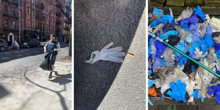 In New York City, Ryan McKenzie picked up and threw away all the discarded gloves and masks he found on the street over the weekend.