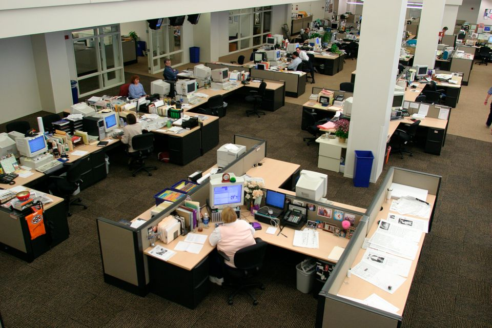The newsroom of the Cleveland Plain Dealer, which laid off all but 14 reporters in early